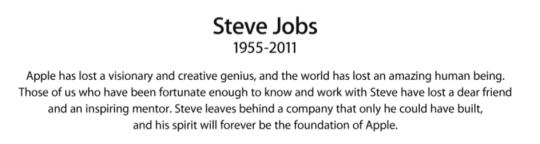 Steve Jobs 1955-2011 (c) Apple Computers